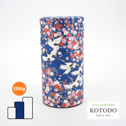 Japanese tea canister Washi design Collection blue paper flowers and cranes