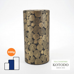 Japanese tea canister Washi design Collection black paper flowers