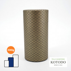 Japanese tea box made of washi paper, WASHI Collection, golden wave
