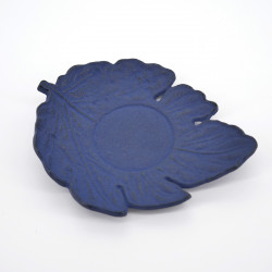 japanese blue cast-ironed teacup mat IWACHU leaf shape