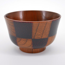 japanese black checked patterns wooden bowl ICHIMATSU