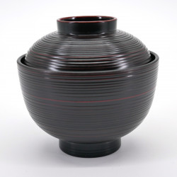 japanese black bowl with lid KOMARU KUROKEN