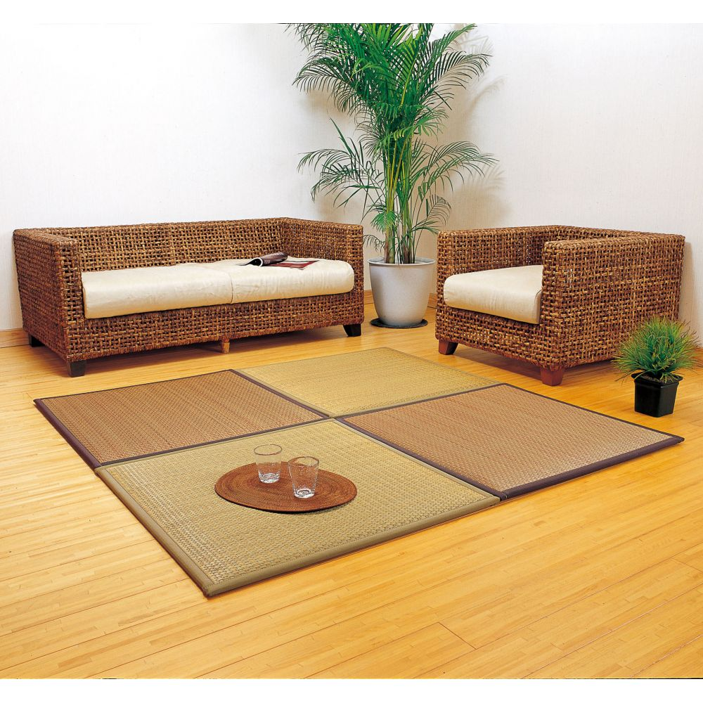 japanese straw beige or brown square mat carpet TAIDO 82x82cm