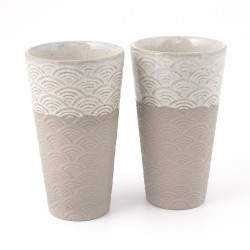 set of 2 traditional Japanese cups gray ceramic color SEIGAIHA