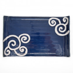 japanese rectangular sushi plate, RURI PLATINE ITCHINRYÔ AGARI, blue