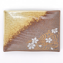 assiette rectangle marron fleurs sakura en céramique SHINONOME RYÛSUI