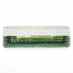 Large japanese rectangular sushi plate, ORIBE SASHIKO, white and green