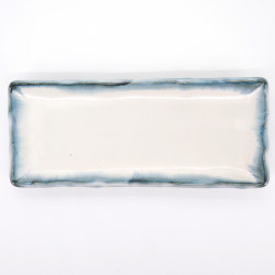 Large japanese rectangular sushi plate, AO KASUMI, white