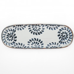 Large japanese rectangular sushi plate, SHIMITSU TAKO KARAKUSA, blue and gray
