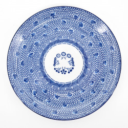 japanese blue patterns Ø24cm round plate with circles METAMARU