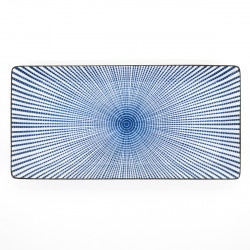 assiette rectangle 23,3cm lignes bleues SENDAN TOKUSA