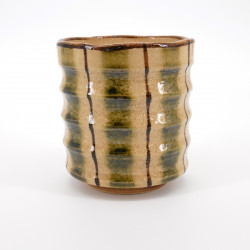 japanese beige and green traditional teacup in relief ORIBE TOKUSA