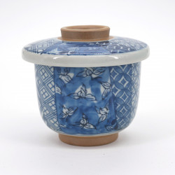 japanese blue patterns cup with lid SHÔZUI HANA