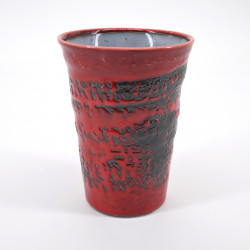 japanese red and grey tall cup H11,1cm in ceramic AKAYÛ