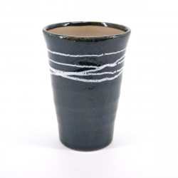 japanese blue with white lines tall cup 11cm TENMOKU WHITE LINE