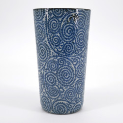 japanese blue patterns tall cup H13,7cm KOZOME TAKO KARAKUSA