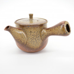 japanese green and brown terracotta teapot SHINSAKU IRABO SANSUJI
