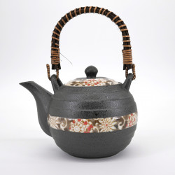 japanese grey flower patterns teapot with handle 0,6L HEIAN KARAKUSA