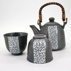 Japanese tea set - 1 teapot and 2 cups, CHAKI KURO UWAGUSURI EDO KARAKUSA, blue