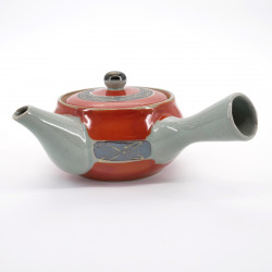 japanese red and grey teapot in ceramic 0,3L SHUMAKI KINSAI