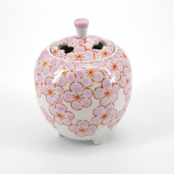 japanese pink incense burner in ceramic cherry blossom SAKURA