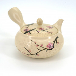 japanese off-white 31cl plum flower terracotta teapot MORIMASA