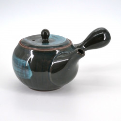 japanese round black blue brush 32cl ceramic teapot AO HAKEME