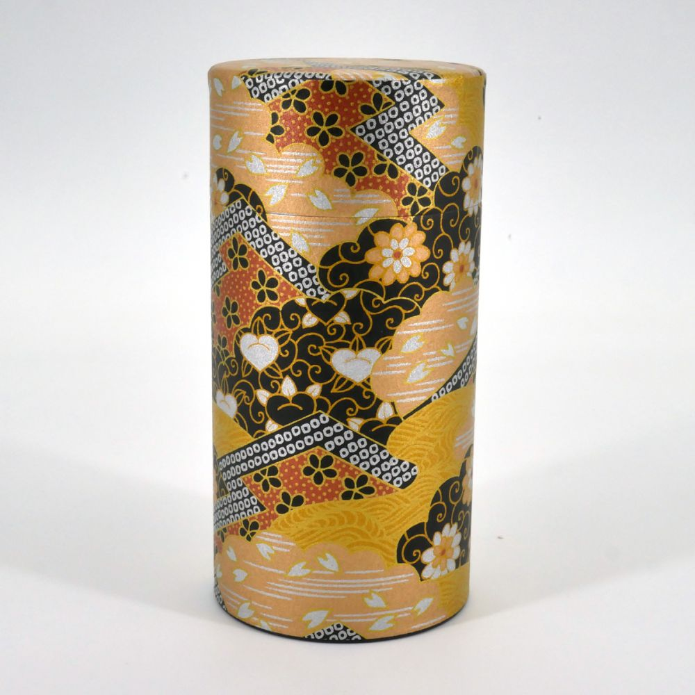 Japanese black golden tea box washi paper KOGANE
