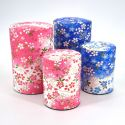 Japanese tea box made of washi paper, VENT, pink and blue