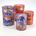 Japanese tea box made of washi paper, EVENTAILS, Red and blue