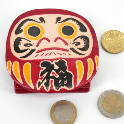 Japanese style leather wallet, DARUMA, red
