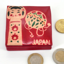 Japanese style red leather coin purse KOKESHI