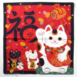japanese red cotton furoshiki 50x50cm manekineko cat