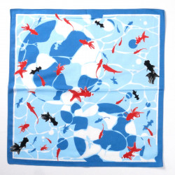 japanese blue cotton furoshiki fishes in water 50x50cm YURAMEKIRYOKA