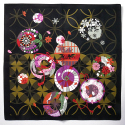 japanese black cotton furoshiki 50x50cm 4 seasons SHIPPÔ