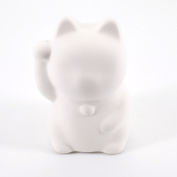 white cat piggy bank lucky charm ceramic PLANE-RIGHT to paint by yourself