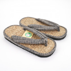 pair of Japanese sandals zori seagrass, 041M, Grey