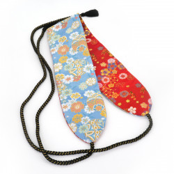 Traditional Japanese red and blue reversible belt, KINRAN HOOH