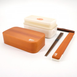 japanese light brown rectangular bento lunch box 15,4x8,3x7,2cm MOKUME