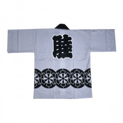 Japanese cotton grey haori jacket for matsuri festival wheel