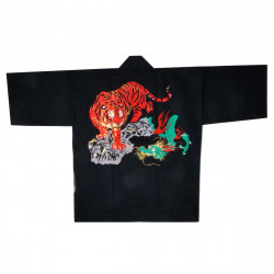 Japanese cotton black haori jacket for matsuri festival dragon tiger