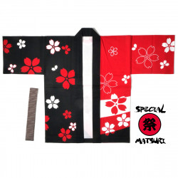 Japanese cotton red haori jacket for matsuri festival sakura