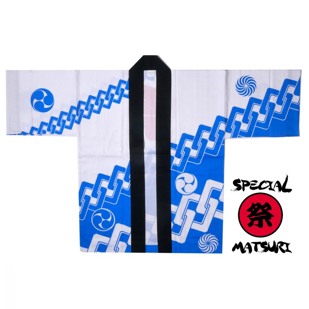 Japanese cotton blue haori jacket for matsuri festival chain