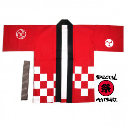 Japanese cotton red haori jacket for matsuri festival checkerboard