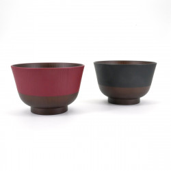 set of 2 red and black bowls for Miso soup NIHON DENTÔ IRO