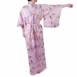 Japanese traditional pink cotton yukata kimono golden plum for ladies