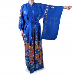 Japanese traditional blue kimono gilt poem and princess for ladies