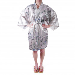 Japanese traditional white sateen hanten kimono poetry and flowers for ladies