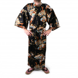 Japanese traditional black cotton yukata kimono samuraï for men