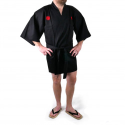 Japanese traditional black cotton shantung hanten kimono silver kanji samuraï for men